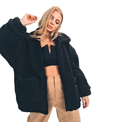 Damen Mantel Teddy Cardigan MYMYG Faux Für Revers Oversize Plüschjacke Winterjacke Kurz Coat Parka Outwear Mit Tasche(SchwarzEU:38/CN-L)
