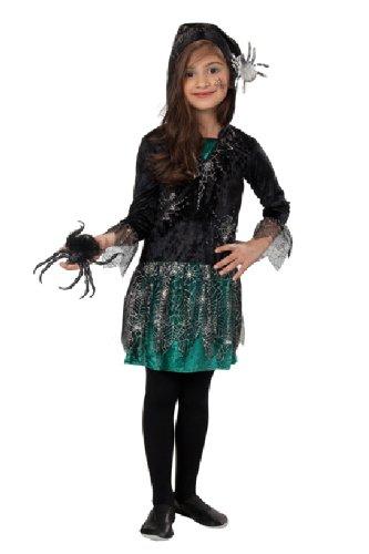 Halloween Kinder Kostüm Spinnen Mädchen Kapuzen Kleid Größe 116 (Spinne Kostüm Mädchen)