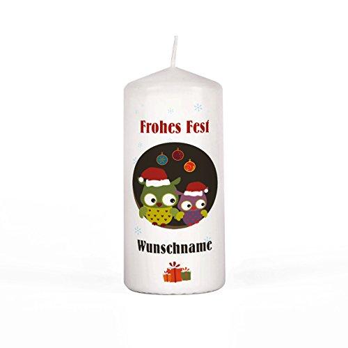 Herz & Heim® Kerze Stumpenkerze zu Weihnachten mit Eulen inkl. Gratis Namen 150/67mm Brenndauer 45 h