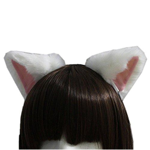 ge Fellohren Anime Cosplay Stirnband Halloween Cosplay Party Kostüm (Weiß mit Rosa nach innen) ()
