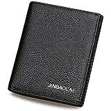 JINBAOLAI Mini Men Leather Wallet for Multi Use, Black Color W55
