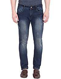 Flying Port Men's Dark Blue Slim Fit Trendy Jeans