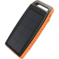 RAVPower Solar Charger 15000mAh Outdoor Portable Charger Solar Power Bank Dual USB External Battery Pack Power Pack with Flashlight (IPX4 Waterproof, Dustproof, Solar Panel Charging, DC5V/2A Input)