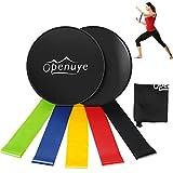 Openuye Gleitscheiben Core Sliders(Set von 2) und Fitnessbänder Widerstandsband (Set von 5),Workout & Zuhause Geräte für Pilates,Crossfit,Yoga Muskelaufbau und Rehabilitation