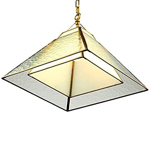 CNMKLM Square Copper Dining Room Pendant Lights Lamp American Double Glass Bedroom Pendant Lamps Study Room Pendant Light