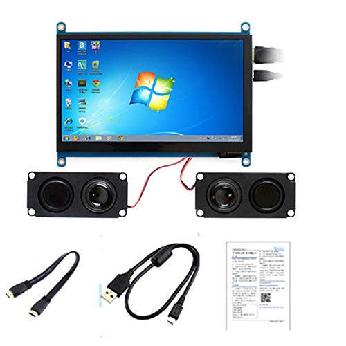 Ruyn 7inch IPS Capacitive Touch Screen 1024x600 Resolution HDMI LCD Display with Speaker for Raspberry Pi,BB Black, Windows -