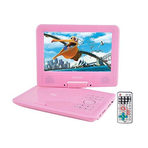 Tragbarer DVD-Player, 22,9cm DVD-Player mit 3Stunden Akku, USB/SD-Karte spielen, gute Geschenk für Kinder (Rosa Auto-stereo-cd)