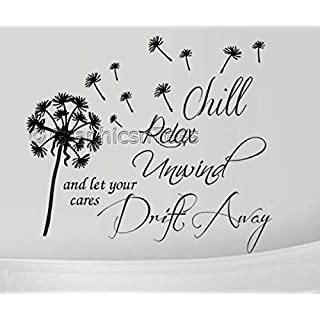 Graphics 'n' Tees - Bathroom Wall Quote Sticker, Chill Relax Unwind Dandelion in Wind, Family Inspirational Wall Sticker - In Black Available (Large 920mm x 800mm)