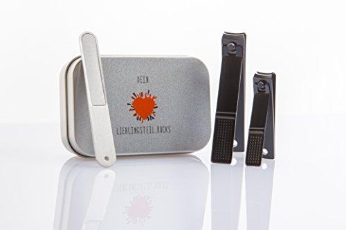 Nagelknipser - Nagelzwicker - Nagelknipser Set - stylische Geschenkbox - Black Beauty - Edelstahl Feile - großer Nagelknipser - kleiner Nagelknipser - Nagelpflege Set