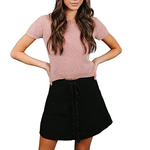LEXUPE Damen Sexy Strickweste Kurzarm Oansatz Pullover Mode Lange TopsÄRmellose Shirt Bluse Strickweste Der Damen ()