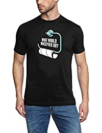 coole-fun-t-shirts T-SHIRT What would MAC GYVER DO ? SCHWARZ