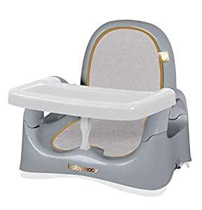 Babymoov Kompakte Sitzerhöhung smokey, mobiler Boostersitz/ Hochstuhl für Kinder, 3-fach höhenverstellbar