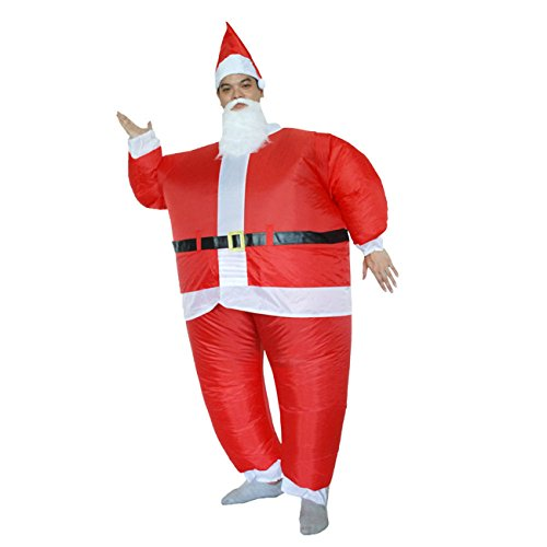 THEE Aufblasbares Kostüm Weihnachten Weihnachtsmann Kostüm T-Rex Erwachsenenkostüm (Aufblasbare T Rex Kostüm Weihnachten)