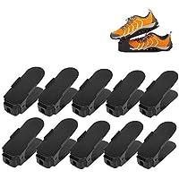 Femor 10 Stück Einstellbare Schuhregale, Schuhstapler/Schuhhalter Set, Kunststoff-Schwarz