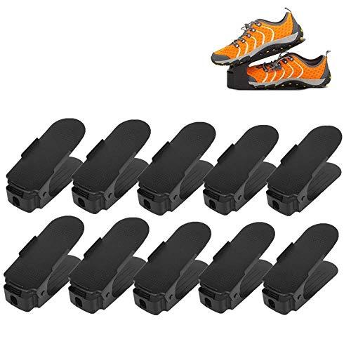 FEMOR Lot de 10 Support à Chaussures Réglables,Empiler Les Chaussures,Organiseur de Chaussures,Economie d'Espace à Chaussures Support Rack Plastique,Vendu par wahaha,Expédier par Amazon1-2 jours