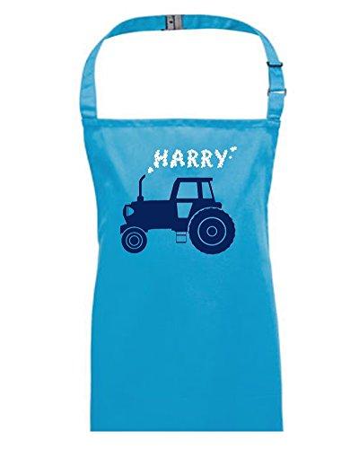 Big Farm tractor- personalizzato bambini/bambini grembiule da FatCuckoo Email con il nome desiderato, Blue, Medium