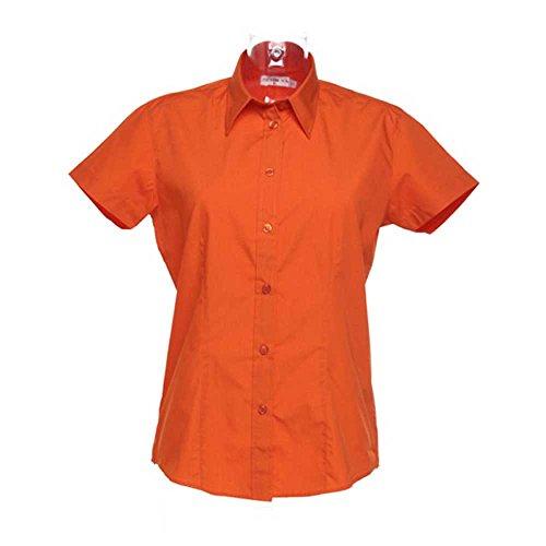 Kustom Kit Workforce Ladies Short Sleeved Blouse Orange
