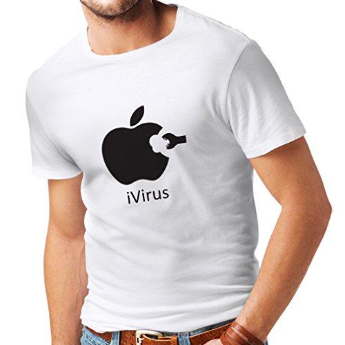 Männer T-Shirt iVirus - Neues tech Liebhaber lustiges Geschenk (X-Large Weiß Schwarz)