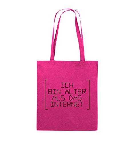 Comedy Bags - ICH BIN ÄLTER ALS DAS INTERNET - RETRO - Jutebeutel - lange Henkel - 38x42cm - Farbe: Schwarz / Pink Pink / Schwarz
