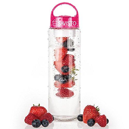 Savisto Tritan Bouteille d'eau avec infuseur de fruits 700ml [plastique premium sans BPA] avec un bouchon à visser anti-fuite et une poignée de transport–rose