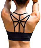 YIANNA Damen Yoga Sport BH ohne Bügel Nahtlos Sports Bra Crop Top Fitness Elastizität Bustier Schwarz mit Abnehmbare Gepolstert ,UK-YA-BRA139-Black-L