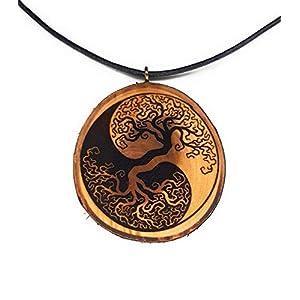SOULSLICES Baum des Lebens 4 Holz-Kette - Vintage - Ethnoschmuck - Hippie - Boho - Statement - Yin Yang - Yoga - Wald - Waldschmuck - Amulett - Talisman - Holz-Anhänger - Männer -Frauen