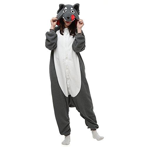 Für Tier Niedlichen Erwachsene Kostüm - Silver_river Unisex Adult Halloween Tier Onesie Pyjama Kostüm Kigurumi Wolf Schlafanzug Erwachsene Tieroutfit Jumpsuit, Lty33grey, L(170cm-178cm)