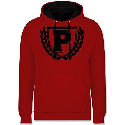 Anfangsbuchstaben - P Collegestyle - Kontrast Hoodie Rot/Schwarz
