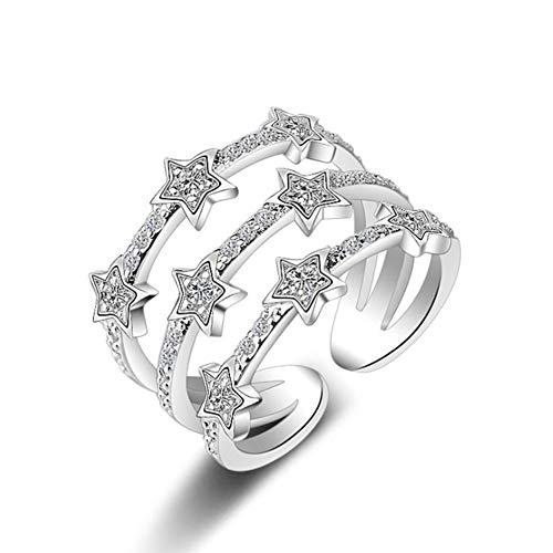 Lovinda Girl Frauen Silber Überzogene Ring Mode 3- Schicht Stern Ring Öffnen Einstellbar Edelstahl Fingerring Billig Schmuck Zubehör für Freundin Dame Geburtstagsgeschenk