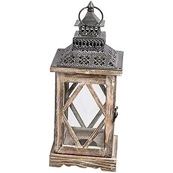 dekojohnson Orientalische Laterne Deko-Laterne Holz-Laterne Vintage Antik Braun Rustikal Retro Lampe Metalldach 16x39cm
