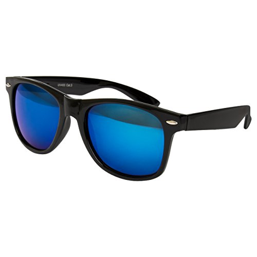 Ciffre Sonnenbrille Nerd Nerd Nerdbrille Stil Retro Vintage Unisex Brille - Schwarz Blau Verspiegelt