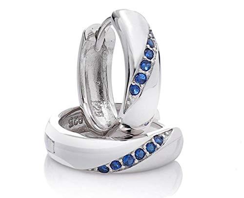 Silvity-Creolen 925 Sterling Silber Diamant-Strass 1.5 x 1.5 cm 307906-20 (Silber-Blau)