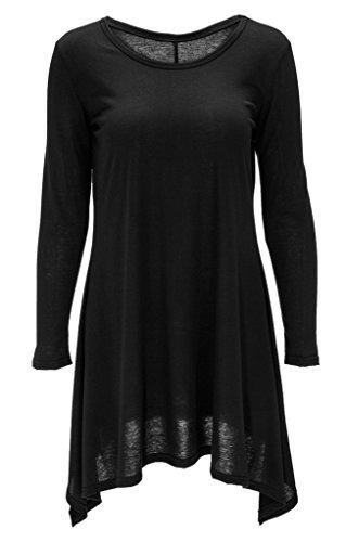 Smile YKK Unregelmäßig Schnitt Sommer Damen Shirtkleider Sweater Kleid Casual Kleider Langärmelig Schwarz