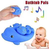 HUHU833 Baby Bath Toys, Shrilling Rubber Cute Dolphin Family Bathtub Pals Floating Bath Tub Toy For Kids