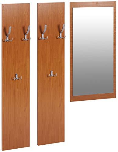 ts-ideen 3er Set Garderobe Spiegel + 2 Wandpaneele Flurgarderobe Kleiderhaken Buche Braun Holz