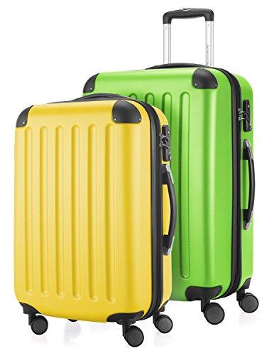 HAUPTSTADTKOFFER - Spree - Set di 2 Valigie Trolley rigido con estensione, ABS, TSA, 4 ruote, 55/65 cm, Giallo-Verde mela