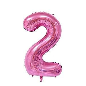 ShopVip Ballons Anniversaire Chiffre 2 Décoration Anniversaire Mariage Géant 80 CM - Grand Ballons Chiffres Rose Gold - Ballon Chiffre Rose 2 Ans - Numéro 2 - 20 Ans