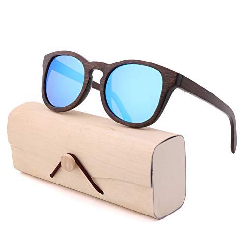 CCGSDJ Mode Retro Elliptische Sonnenbrille Bambus Palm Bambuslinsen Polarisierte Outdoor Reise Sonnenbrille Für Männer Und Frauen