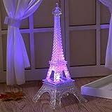 Friend Gift Light Eiffel Tower Night Light Paris Style Decoration LED Lamp Fashion Colorful Table Light Bedroom Acrylic Light,L