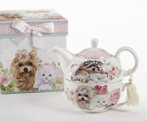 Delton Products Puppy Dog Pot & Kittens Pattern Porcelain Tea for One Tea Pot Dog by Delton B00QSDWNZS e99fd2