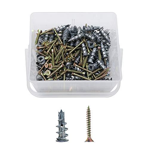 Orgrimmar Gipskartondübel Spiral Plus Metallperlen Driva Gipskartondübel 13x31mm 100 Pcs mit Schraube und Schrauben 4.5x35mm 100 Pcs Kasten (Spiral-anker)