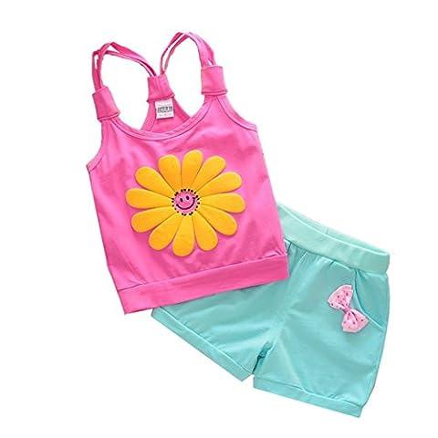 Kids Vest Tops & Shorts, Transer® Baby Girl Cute Cartoon Strap Tops+Pants 0-24 Months Toddler Kids Sunflower Shirt Clothes Newborn Infant Outfits (18-24 Months,