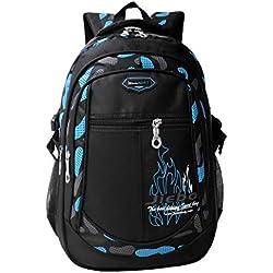 Mochila Niño Mochilas escolares Impermeable de Morrales de Multi-Función Viajes Volver Packs Azul