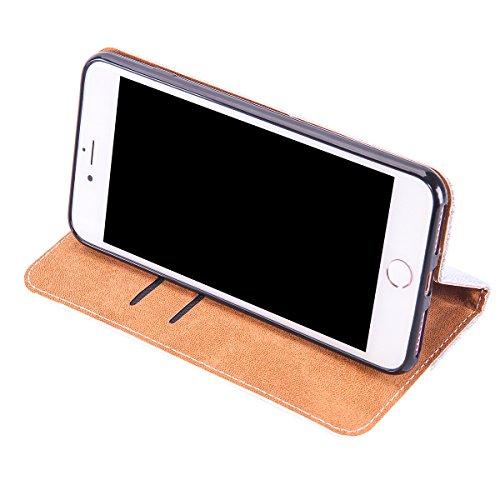 Lusso Wallet Case per iPhone 6Plus, MAOOY iPhone 6sPlus Moda Sparkle Shiny Cristallo Rhinestone Cassa, iPhone 6Plus/6sPlus Libro Portafoglio Custodia con Magnatic Closure & Carta di Credito & Basament Silver 4