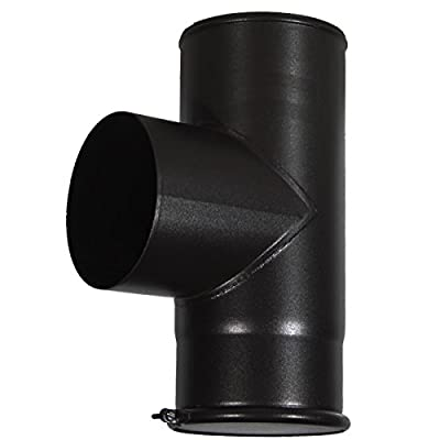 "ChimFit 6"" 90 Degree Tee Piece & Cap Black Vitreous Enamelled Flue Pipe For Wood Burning Multifuel Stoves"