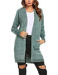 Beyove Damen Strickjacke mit Spitze Offene Cardigan Strickmantel Outwear Langarm  Mantel Coat Tops Herbst Winter 4caaa2d972