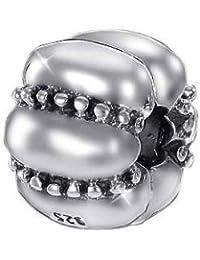 MATERIA joyería cuentas tope Clip de onda Element - 925 de plata con cuentas de bases para abalorios pulseras 3 mm con rosca #768