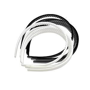 D DOLITY 10 Stück Kunststoff Stirnband Haarreifen aus Plastik Schwarz Haarband Damen Haarschmuck für DIY Dekor