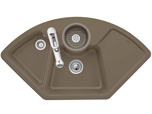 Villeroy & Boch Solo Eck Timber Braun Eckspüle Einbau Küche Keramik Auflagespüle