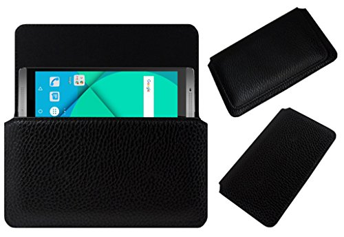 Acm Horizontal Case For Micromax Canvas Mega 2 Q426 Mobile Leather Cover Black